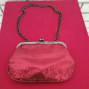Express Red Sequin Chain Purse